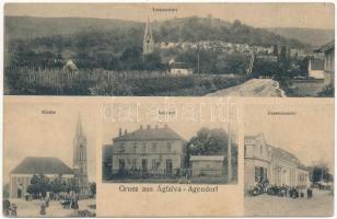 1913 Ágfalva, Agendorf (Sopron); templom, vasútállomás a központi állítóközpont még különálló épületével, utca, üzlet, szőlőskert (EK)