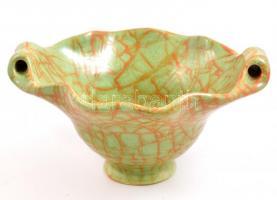 Gorka Iparművészeti Vállalatos zöld tál, mázas kerámia, jelzett, hibátlan d: 16 cm, m: 7 cm