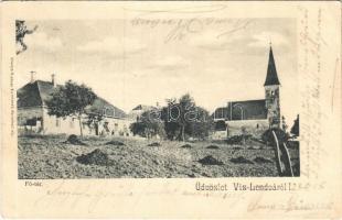1905 Vízlendva, Víz-Lendva, Sveti Jurij; Fő tér, templom / main square, church (EK)