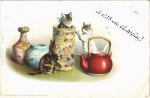 1899 (Vorläufer) Macskák porcelánokkal / cats with porcelain. Kunstanstalt Wilhelm Boehme Postkarte No. 202. litho (EB)