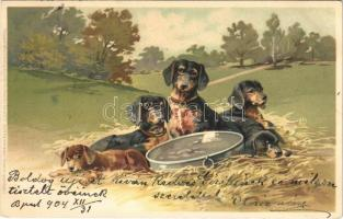 1905 Tacskók / Dachshund dogs. Meissner & Buch Künstler Postkarten Serie 1275. Gute Kameraden litho