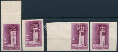 1958 Televízió 4 db vágott bélyeg, közte szép nagy ívszélek (12.000) / 6 x Mi 1511 imperforate stamps
