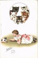 1899 (Vorläufer) Macskák, kislány nyuszis játékkal / Cats, little girl with toy rabbit. Kunstanstalt Wilhelm Boehme Postkarte No. 205. litho
