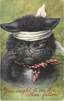 1907 You ought to see the other fellow / Jól elagyabugyált macska verekedés után / Beaten cat, humor. German American Novelty Art Series No. 710. s: Arthur Thiele