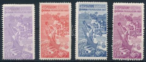 1907 Szicíliai mezőgazdasági kiállítás Catania 4 klf levélzáró