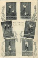 Gebr. Fritzsche Leuben-Dresden / Német cirkuszi kerékpáros akrobaták / German circus acrobats with bicycles. Art Nouveau (EK)