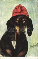 Pipázó tacskó / Dachshund dog smoking a pipe. B.K.W.I. 341-2. s: Pankratz (apró szakadás / tiny tear)
