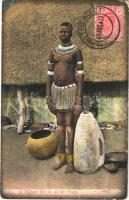 1913 A Mhlope Girl in all her finery / African folklore. TCV card (EK)