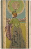 1902 La Suedoise / Svéd hölgy. Magyar szecessziós dombornyomott litho / Swedish lady. Serie 653. Nr. 9. Emb. Art Nouveau litho s: Basch Árpád (EK)