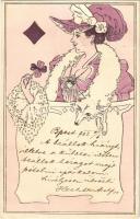 1902 Káró dáma (Francia kártya) / Queen of Diamonds (French card). Art Nouveau, Emb. B.R.W. 409. (EK)