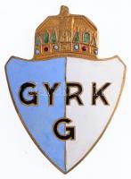 ~1930. GYRKG (Gyulai Római Katolikus Gimnázium?) zománcozott iskolajelvény (56x41mm) T:1-