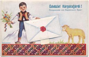 1943 Kárpátalja, Transcarpathia; népviseletes leporello / folklore leporellocard s: Klaudinyi (EK)