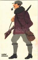 Vadász. Diana Istennő útjait járom, s mindig sósborszeszét használom! reklám / Ungarische Werkstätte / Hungarian hunter art postcard. Advertisement on the backside s: Győri Aranka (Rb)