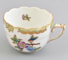 Herendi Viktória mintás porcelán mokkás csésze, kézzel festett, jelzett, hibátlan, m: 4,5 cm, d: 6,5 cm