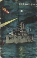 1916 SMS Sankt Georg osztrák-magyar páncélos cirkáló este / K.u.K. Kriegsmarine Panzerkreuzer / WWI Austro-Hungarian Navy, SMS Sankt Georg armored cruiser at night, naval flag. G. Fano, Pola 1910. No. 17. (szakadás / tear)