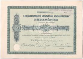 Hajdúböszörmény 1913. Hajdúböszörményi Kötszövőgyár Részvénytársaság részvénye 200K-ról, szelvényekkel, felülbélyegzéssel T:I-