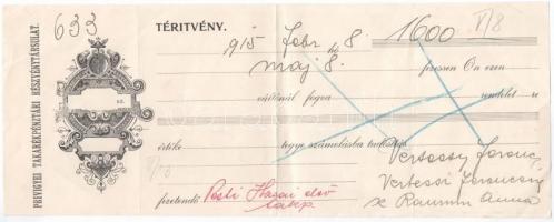 Privigye (Prievidza) 1915. Privigyei Takarékpénztári Részvénytársulat kitöltött váltó T:III