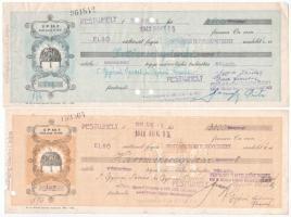 Pestújhely 1941. 2db kitöltött váltó, lyukaszással érvénytelenítve, hátlapon váltóilleték bélyegekkel, bélyegzéssel T:III