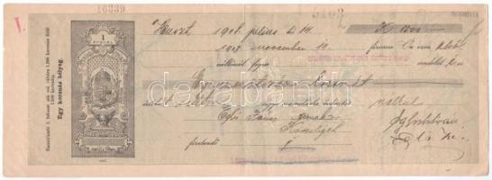 Huszt 1908. Tiszavidéki Takarékpénztár Részvénytársaság váltója, hátlapon bélyegzésekkel T:III