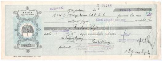 Miskolc 1943. Borsod-Miskolczi Hitelbank kitöltött váltója, hátlapon bélyegzéssel és váltóilleték bélyeggel T:III
