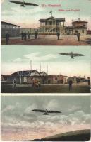1916 Wiener Neustadt, Bécsújhely; Bilder vom Flugfeld, Autoplan-Werke / Airfield, aircrafts (EK)