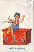 1939 Aknaszlatina, Slatinské Doly, Szolotvino, Solotvyno (Máramaros); Magyar népviseletes leporello / Hungarian folklore leporellocard s: Klaudinyi