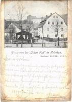 1900 Becov nad Teplou, Petschau; Gruss von der Alten Post, Besitzer Eduard Eckl / restaurant and hotel (worn edges)