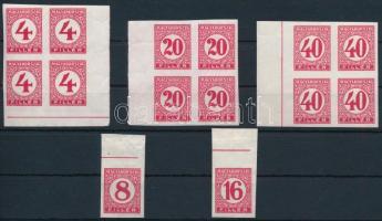1929 Pengő-filléres portó II. 2 ívszéli vágott bélyeg + 3 ívszéli / ívsarki négyestömb