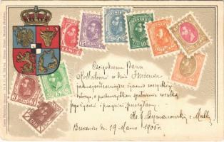 1905 Román bélyegek és címer. Dombornyomott litho / Romanian stamps and coat of arms. Carte Philatelie Ottmar Zieher Art Nouveau, embossed litho (Rb)