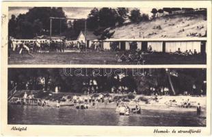 1935 Alsógöd (Göd), Homok- és strandfürdő, fürdőzők, tornagyakorlatok