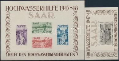 Saar 1948 Árvíz blokkpár: blokk Mi 1 jó állapotú blokk betapadásnyomokkal + blokk 2 kifogástalan postatiszta blokk (~Mi EUR 1.000.-)