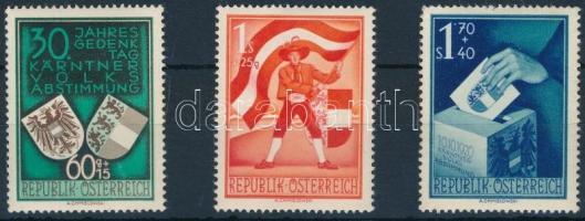 Ausztria 1950 karinthiai népszavazás Mi 952-954 (Mi EUR 150.-) (1,70S rozsdafolt a gumin / stain on gum)