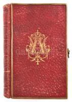 Madame de Fenouil: Recueil de Prieres de Madame de Fenouil. Dijon, 1866, E. Pellion. Francia nyelven. Kiadói aranyozott egészbőr-kötésben, dúsan aranyozott, mintás lapélekkel, a táblák élein réz borítással, réz kapcsokkal, a réz borítás egy helyen kissé deformált, kissé kopott borítóval.