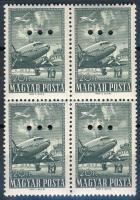 1957 Repülő záróérték négyestömb hármaslyukasztással (12.000) / Mi 1496 block of 4 with 3 hole punching
