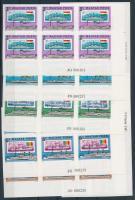 1981 Duna vágott sor ívsarki 6-os tömbökben, ívszéli jelzésekkel (40.000+) (1Ft ujjlenyomat) / Mi 3514-3520 imperforate set in corner blocks of 4 (1Ft finger print)