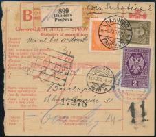 1932 Csomagszállító Pancsováról Budapestre / parcel card to Hungary