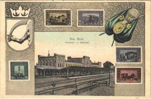 1907 Brod, Bosanski Brod; Kolodvor / Bahnhof / railway station. Art Nouveau, stamps, flag, coat of arms