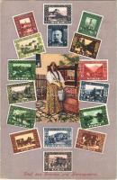 Gruss aus Bosnien und Herzegowina / Greeting from Bosnia and Herzegovina, Art Nouveau stamps (tiny gluemark)