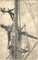 SMS Nautilus az Osztrák-Magyar Haditengerészet ágyúnaszádja, matrózok az árbócon / SMS Nautilus Mars Kanonenboot / Austro-Hungarian Navy gunboat, mariners. G. Fano Pola 1907-08.