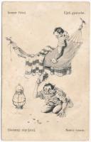 K.u.K. Kriegsmarine Matrosen. Innerer Feind / Éjjeli gyakorlat / Unutarnji neprijatelj / Nemici interni / Austro-Hungarian Navy, mariner humour. C.F.P. 1917/18. 21a. s: Ed. Dworak