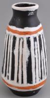 Gorka Lívia (1925-2011): Fekete-fehér-narancs váza, festett mázas kerámia, jelzett, kis mázhibákkal, m: 24 cm
