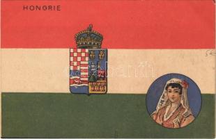 Hongrie / Magyar Királyság középcímere, magyar zászló / Kingdom of Hungary, Hungarian flag and coat of arms, including coat of arms of the Lands of the Crown of Saint Stephen (Croatia, Dalmatia, Slavonia, Bosnia, Fiume, Transylvania). litho