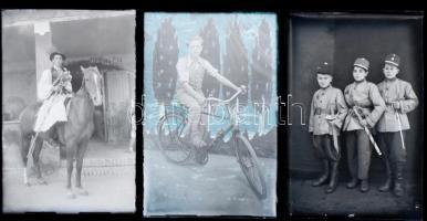 cca 1945 és 1955 között készült felvételek Csongrádon, Hajdu János (?-?) fényképész hagyatékából 13 db vintage üveglemez NEGATÍV sokféle témáról: csikós a lován, katona, apacs legények, kerékpáros, gazdasági udvar, különféle csoportok, gyerekek katonai egyenruhában, stb., 10x15 cm