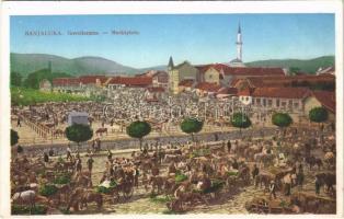 Banja Luka, Banjaluka; Govedarnica / Marktplatz / market square. W.L. Bp. 1630. 1911-14. Ladislav Wolf (Rb)