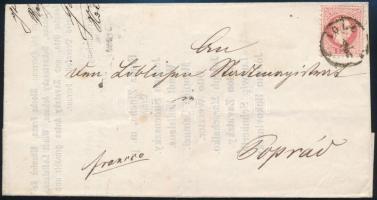 1867 5kr levélen / on cover IGLO - LÖCSE - POPRÁD