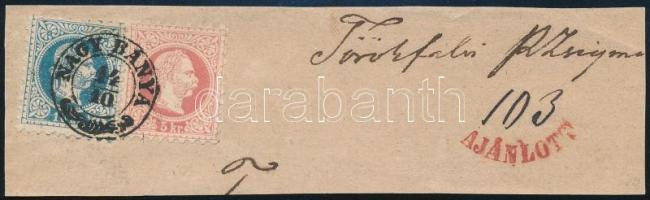 1873 5kr + 10kr ajánlott levélkivágáson / 5kr + 10kr on registered cutting NAGY BÁNYA