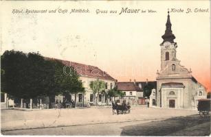 1907 Wien, Vienna, Bécs XXIII. Mauer, Kirche St. Erhard, Hotel, rstaurant und Café Mittleböck / square, church, shop of Maria A.