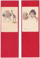 Gyerekek / Children. Proprieta Artistica No. 0572. s: E. Colombo - 2 db régi olasz mini képeslap / 2 Italian mini art postcards (14 x 4,5 cm)