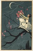 1929 Bohóc hölgy holddal / Pierrot girl with moon. Italian art postcard. Ballerini & Fratini 281. s: Chiostri