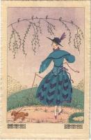 Ihr Liebling / Lady with dog. Art Nouveau, Wenau-Brabant No. 1511. s: Mela Koehler